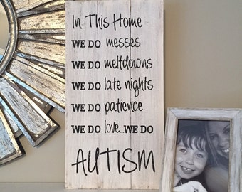 In This Home...AUTISM sign, wood pallet, farmhouse style, typography, autism wall art