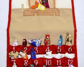 Embroidered fabric Nativity Manger scene Advent Calender 14 x 26