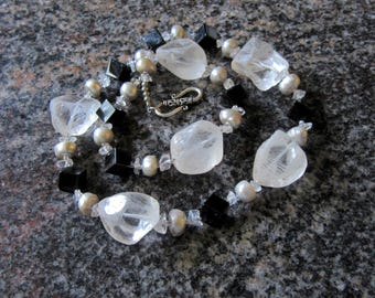 Large Quartz Crystal Chunk Necklace / Statement Necklace /Sterling silver