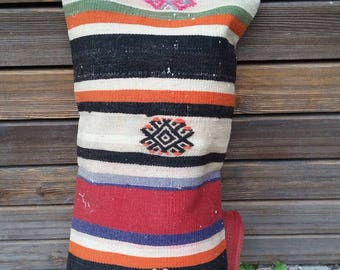 "TURKISH KILIM PILLOW..vintage kilim cover, old kilim, village made, handmade, 23""x14"", 60x36cms, quality backing and zip, free shipping!!"
