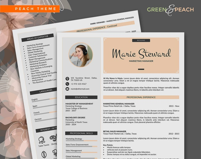 Creative Resume Template Instant Download, 3 Pages Word Resume Design and Cover Letter, Modern Resume in 2 Colors and 2 Cover Letter Designs