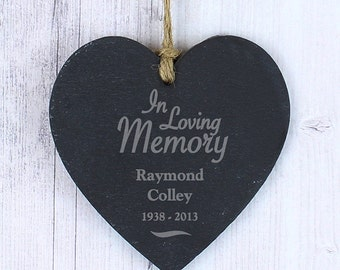 In Loving Memory Personalised Heart Slate Plaque Remembrance, Memorial