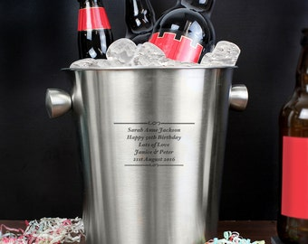 Personalised Any Message Stainless Steel Ice Bucket, Engraved Gift, Birthdays, Anniversary, New Home