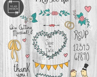 28 Hand drawn Love Elements Wedding Clipart Love Clipart Digital Wedding Elements Cute Love graphics Fall in love clipart Romantic clipart