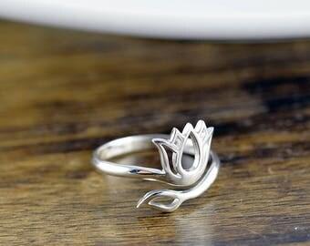 Sterling Silver Lotus Ring - Lotus Jewelry - Adjustable Lotus Ring - Yoga Jewelry - Lotus Ring Flower Spiritual - Fashion Rings