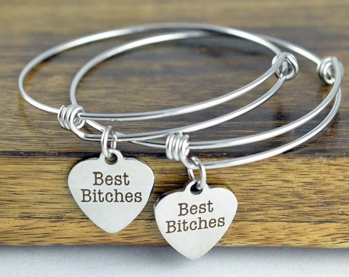 Best Friend Charm Bracelet - Best Bitches Bracelets - Bff Gifts, Friendship Bracelet - Friend Gift Bracelet Set, Best Friends Jewelry