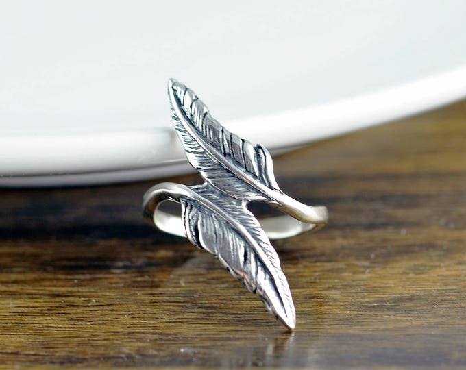 Sterling Silver Double Feather Ring - Feather Ring - Boho Rings - Bohemian Ring - Gypsy Ring - Rings for Women - Fashion Ring