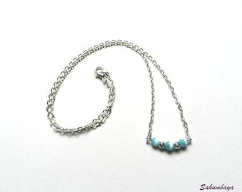 Necklace, silver, pearls, blue, cat eye, chain, minimalist, trend, fashion