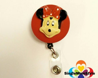 Minnie Mouse fabric covered badge reel name tag ID holder