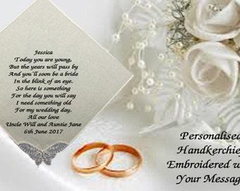 Personalised Bridesmaid Flower Girl Women Handkerchief Hankie Wedding Gift Ladies Girl Family ANY MESSAGE