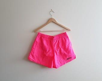 Vintage womens swim wear, neon pink swim shorts, vintage brooks swim shorts, womens brooks swim wear
