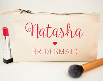 Personalised Elegant Handwritten Bridesmaid Bag - Gifts for Bridesmaids - Cosmetic Bag Travel Essentials - Wedding Gifts - Pretty Pouch