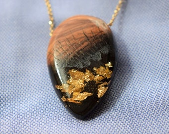 Wood Resin Pendant, Made in Italy, Handmade Necklace, B.Black n.8, Unique piece, Wood resin jewelry, Handmade Jewelry