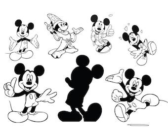Mickey Mouse svg, Disney svg, cartoon svg, disneyland, dxf, cricut, silhouette cutting file, download