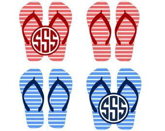 Flip flop svg monogram, summer flip flops svg, summer svg, beach svg, flipflops svg, dxf, cricut, silhouette cutting file, instant download