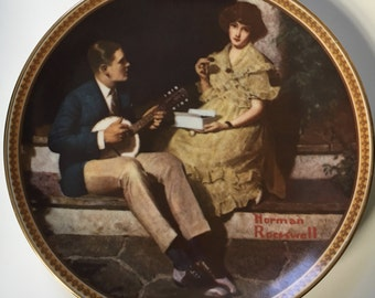 """Norman Rockwell Collectors Plate - """"Pondering On The Porch"""" - Official Limited Edition"""