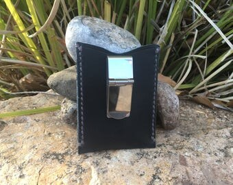 Navy Blue Leather Card Wallet w/ Money Clip