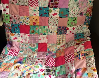 Beautiful pink themed baby girl patchwork quilt
