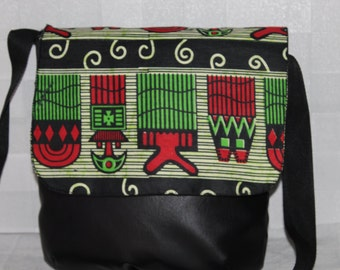 African Print  and Leatherette Fabric Shoulder/ Messenger Bag/Tote