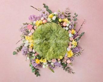 Easter Newborn Digital Background - Easter Nest - Fresh & Silk Flowers / Instant download