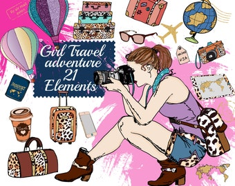 "Travel Clipart: ""PLANNER SUPPLIES"" Adventure Clipart,Hot Air Balloons Clipart,Planner girl,Sticker graphic,Suitcase clipart,Fashion Clipart"
