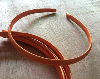 10pieces orange satin plastic hair headband covered 10mm wide