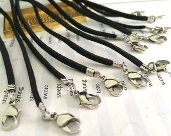 wholesale 100pieces 18-30inch Silver finish 2.5mm black flat suede leather necklace cords