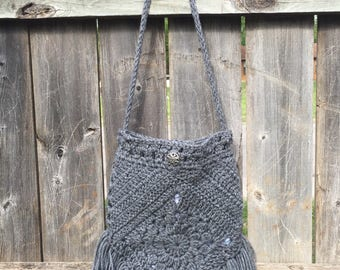 Crochet Gypsy Boho Bag; Purse; crochet purse; handbag; purse with fringe