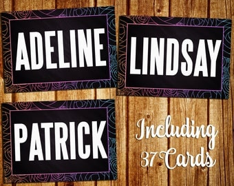 Name Cards - Home Office Approved - Name Tags - Clothing Style Name Signs - Chalkboard/Black - Instand Download- 5x7 - Including 37 Cards