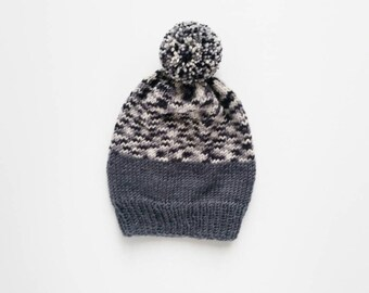 Spotted gray pompom beanie, color block beanie for toddler (size S) ready to ship