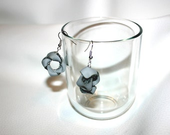 grey leather earrings original design gift for her