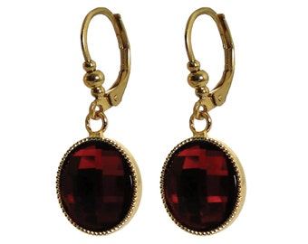 Hypoallergenic surgical steel red crystal dangle girl's earrings