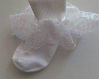 White lace ruffle socks, baby socks, church socks, flower girl socks, wedding socks, pageant socks, lace ruffle socks, white ruffle socks