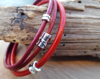 Leather strap Red