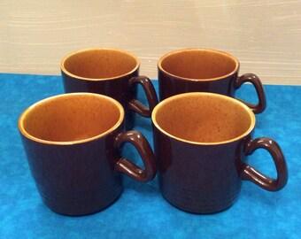 Vintage Set of Ceramic Brown and Gold Mugs ~ Glazed Ceramic Coffee Mugs