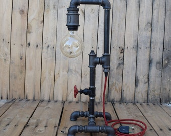 Industrial pipe table lamp with gate valve