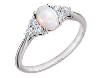 Natural Opal Ring White Gold / 14K Gold Opal Ring with Diamonds