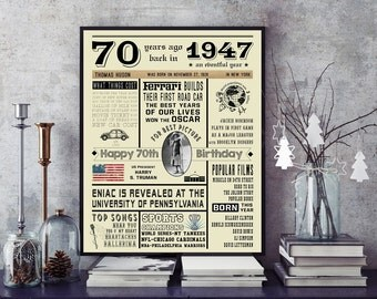 70th Birthday 1947 Chalkboard Poster Sign, Personalized, Instant Download Digital Printable File, 70 Years Ago in 1947, 70th Birthday Gift