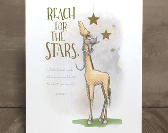 Children's giraffe and stars art print, nursery art, kid character trait, perseverance