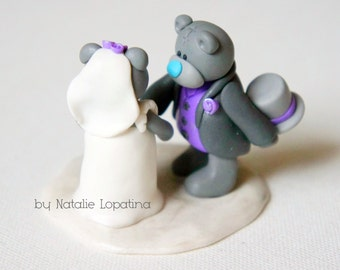 Teddy bears wedding cake topper, Handmade bride and groom, Teddy bears, Custom cake topper, Cute couple, Personalized figurines