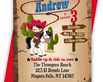 YOU PRINT - Cowboy Birthday Invitation, Cowboy themed Birthday Invite, Cowboy Invite, Western Birthday printables - BIRINV121
