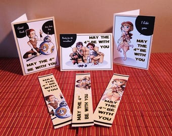 Personalized Card + bookmark. Inspired by Star Wars.