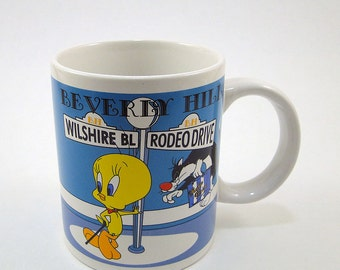 Coffee Tea Mug / Tweety Bird / Sylvester / Beverly Hills / Rodeo Drive / 1997 Warner Bros