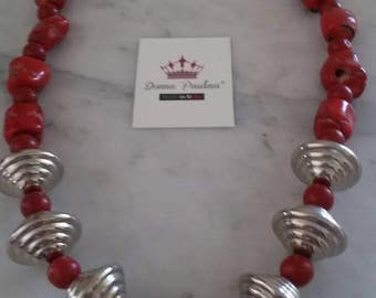 Red bamboo coral necklace and Silver inserts