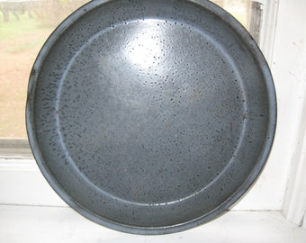 Vintage Grey Enamelware Graniteware Pie Plate Pan Early Primitive Decor Primitive Kitchen Free Shipping