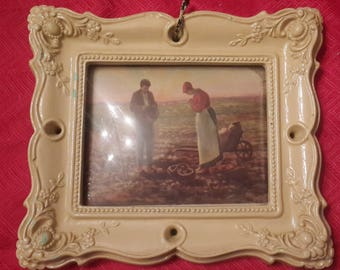 Ornate yellow Vintage Dome Picture Frame, Shabby Chic Farmer couple