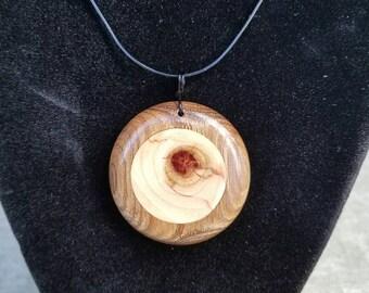 Hand turned wood pendant
