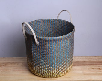 Wicker Basket # Clothes basket #Made from Krajood #Thai handmade #Home Decor #  Made from natural