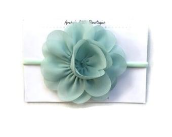 Teal flower headband - 3 inch flower  headband - nylon one size fits all - baby infant kid adult headband