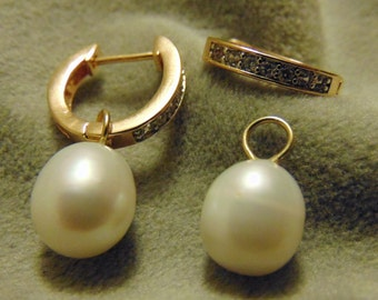 Kate Middleton Inspired Gold Hoop with Removable Pearl Earrings